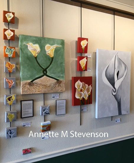 A series of Calla Lily paintings shown in a Gallery setting.
