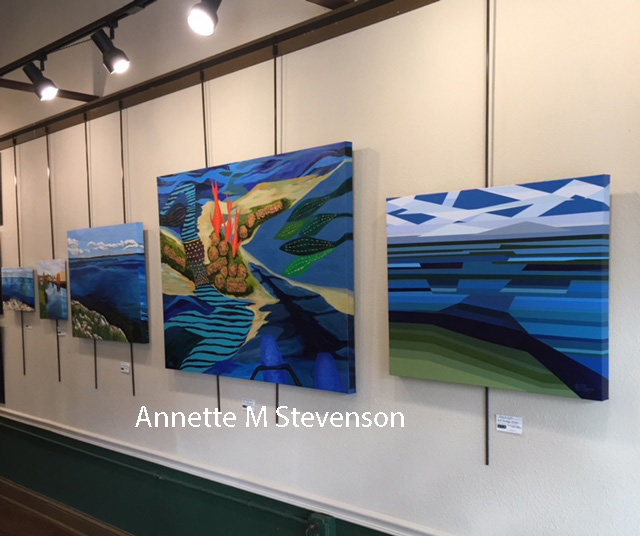 Water Scene Series shown in a gallery setting