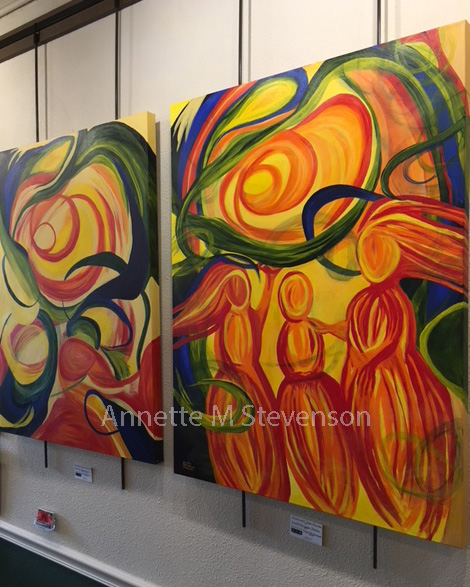 Abstract Paintings of the Windswept Series in a Gallery Setting.